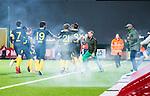S&ouml;dert&auml;lje 2014-04-07 Fotboll Superettan Assyriska FF - Hammarby IF :  <br /> Hammarby supportrar springer in p&aring; planen och jublar med Hammarbys spelare efter att Hammarbys Fredrik Torsteinb&ouml; Torsteinb&oslash; gjort 1-0<br /> (Foto: Kenta J&ouml;nsson) Nyckelord:  Assyriska AFF S&ouml;dert&auml;lje Hammarby HIF Bajen supporter fans publik supporters jubel gl&auml;dje lycka glad happy
