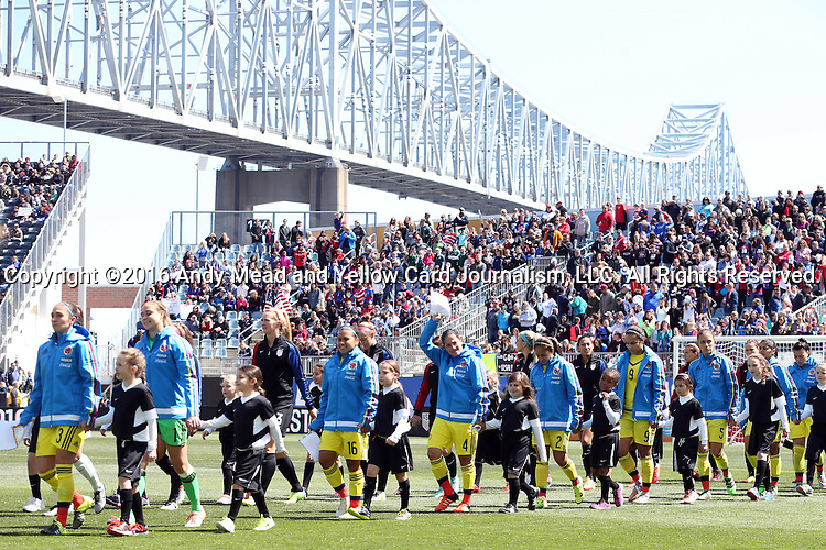 10 April 2016: The starters march out for the start of the game. The United States Women's National Team played the Colombia Women's National Team at Talen Energy Stadium in Chester, Pennsylvania in an women's international friendly soccer game. The U.S. won the match 3-0.