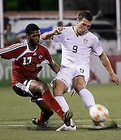 Nicholas Walker (17) battles for the ball against Peri Marosevic (9). US Under 20 Men's National Team played to a scoreless draw vs Trinidad & Tobago, advancing after winning 4-3 on penalty kicks in Macoya, Trinidad on March 13th, 2009...