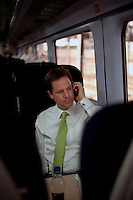 Nick Clegg, the Liberal Democrat party leader, travelling to Chippenham in Wiltshire on the campaign trail...
