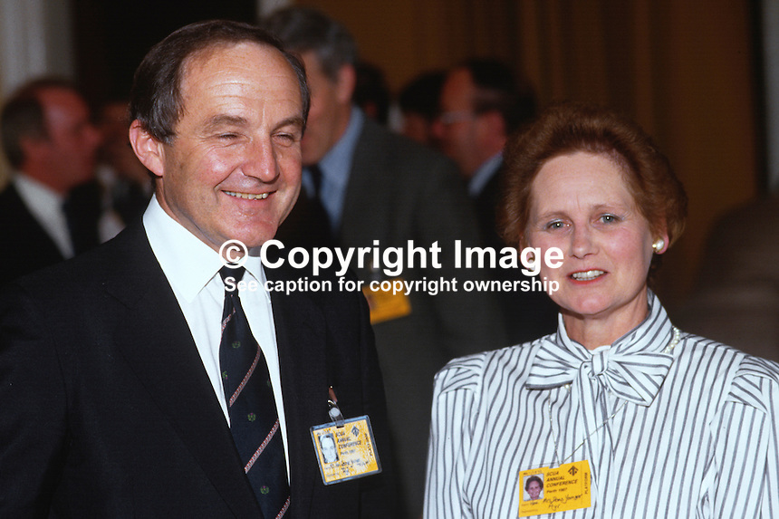 George Younger, MP, UK, Defence Minister, Conservative Party, with wife, Diana, at 1987 party conference. 19870506GY+DY1.<br /> <br /> Copyright Image from Victor Patterson, 54 Dorchester Park, <br /> Belfast, UK, BT9 6RJ<br /> <br /> t1: +44 28 9066 1296 (from Rep of Ireland 048 9066 1296)<br /> t2: +44 28 9002 2446 (from Rep of Ireland 048 9002 2446)<br /> m: +44 7802 353836<br /> <br /> e1: victorpatterson@me.com<br /> e2: victorpatterson@gmail.com<br /> <br /> www.victorpatterson.com<br /> <br /> Please see my Terms and Conditions of Use at www.victorpatterson.com. It is IMPORTANT that you familiarise yourself with them.<br /> <br /> Images used on the Internet must be visibly watermarked i.e. &copy; Victor Patterson within the body of the image and copyright metadata must not be deleted. Images used on the Internet have a size restriction of 4kbs and will be chargeable at current NUJ rates unless advised otherwise.<br /> <br /> This image is only available for the use of the download recipient i.e. television station, newspaper, magazine, book publisher, etc, and must not be passed on to any third party. It is also downloaded on condition that each and every usage is notified within 7 days to victorpatterson@me.com<br /> <br /> The right of Victor Patterson to be identified as the author is asserted in accordance with The Copyright Designs And Patents Act (1988).