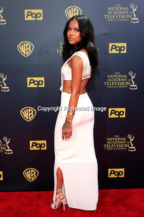 BURBANK - APR 26: Karrueche Tran at the 42nd Daytime Emmy Awards Gala at Warner Bros. Studio on April 26, 2015 in Burbank, California