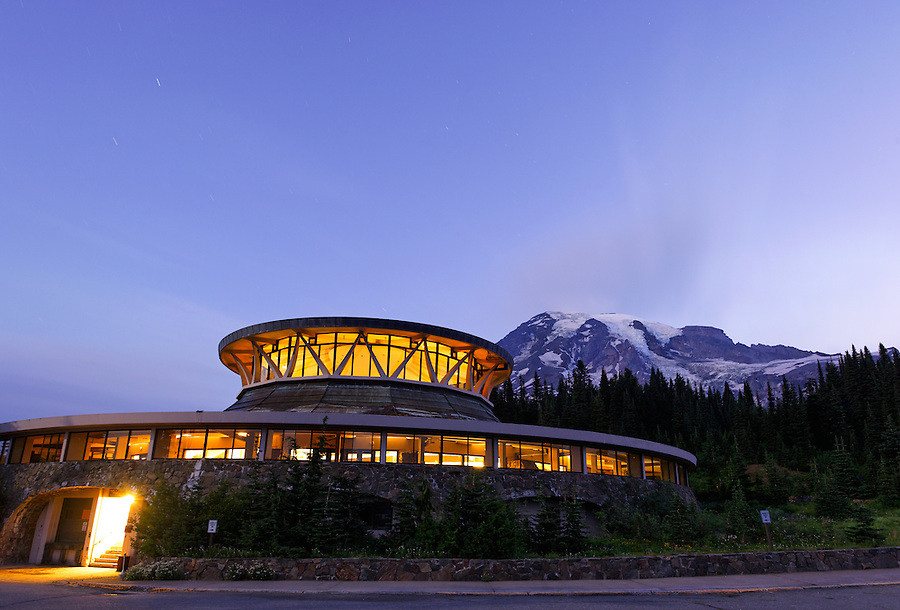 Exterior of old Henry M Jackson Visitor Center at dawn, Paradise, Mount Rainier National Park, Washington, USA
