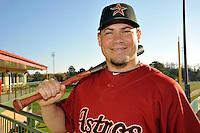 Feb 25, 2010; Kissimmee, FL, USA; The Houston Astros catcher Humberto Quintero (55) during photoday at Osceola County Stadium. Mandatory Credit: Tomasso De Rosa / Four Seam Images
