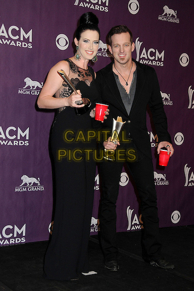 Shawna Thompson, Keifer Thompson, Thompson Square.48th Annual Academy of Country Music Awards - Press Room held at the MGM Grand Garden Arena, Las Vegas, California, USA..April 7th, 2013.full length black dress suit award trophy winners trophies .CAP/ADM/BP.©Byron Purvis/AdMedia/Capital Pictures.