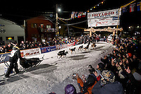Dallas Seavey wins his 3rd Iditarod in 8 days 18 hours 13 minutes 6 seconds with lead dogs Reef and Hero on Wednesday March 17, 2015 during Iditarod 2015.  <br /> <br /> (C) Jeff Schultz/SchultzPhoto.com - ALL RIGHTS RESERVED<br />  DUPLICATION  PROHIBITED  WITHOUT  PERMISSION