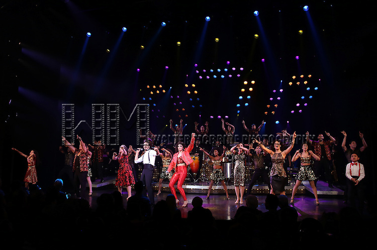 Alma Cuervo, Ektor Rivera , Ana Villafañe, Andréa Burns with cast of the Broadway production of 'On Your Feet!' celebrate their 500th performance at Marquis Hotel  on January 18, 2017 in New York City.