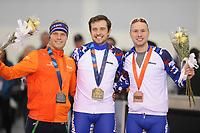 SPEEDSKATING: SALT LAKE CITY: 10-12-2017, Utah Olympic Oval, ISU World Cup, Podium 1000m Men A-Division, Koen Verweij (NED), Denis Yuskov (RUS), Pavel Kulizhnikov (RUS), ©photo Martin de Jong