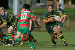 No 8 D. Crighton makes a run from the scrum. Counties Manukau Premier Club Rugby, Pukekohe v Waiuku  played at the Colin Lawrie field, on the 3rd of 2006.Pukekohe won 36 - 14