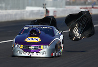 Feb 8, 2014; Pomona, CA, USA; NHRA pro stock driver Vincent Nobile during qualifying for the Winternationals at Auto Club Raceway at Pomona. Mandatory Credit: Mark J. Rebilas-