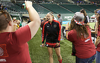 Portland, OR - Sunday July 31, 2016: Kat Williamson after a regular season National Women's Soccer League (NWSL) match between the Portland Thorns FC and Seattle Reign FC at Providence Park.