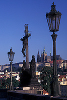 Prague, Charles Bridge, Czech Republic, Praha, Central Bohemia, Religious statue on Charles Bridge.