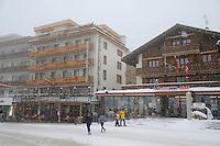 Grindelwald town in the winter snow. Ski resort - Swiss Alps