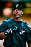 Gary Sheffield of the Florida Marlins during a game at Dodger Stadium in Los Angeles, California during the 1997 season.(Larry Goren/Four Seam Images)