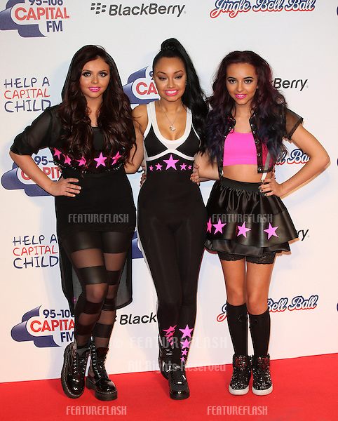 Jesy, Leigh-Ann and Jade from Little Mix arriving for the Capital Radio Jingle Bell Ball, O2 Arena, London. 08/12/2012 Picture by: Alexandra Glen / Featureflash