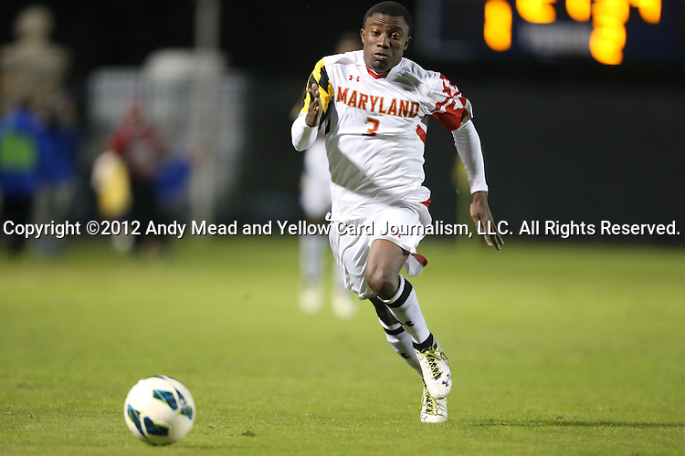 12 October 2012: Maryland's Christiano Francois. The University of Maryland Terrapins defeated the Duke University Blue Devils 2-1 at Koskinen Stadium in Durham, North Carolina in a 2012 NCAA Division I Men's Soccer game.