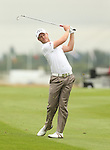 Danny Willett plays his approach to the first hole during the opening round of the ISPS Handa Wales Open 2013 at the Celtic Manor Resort<br /> <br /> 29.08.13<br /> <br /> ©Steve Pope-Sportingwales