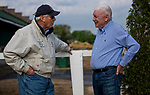 LOUISVILLE, KY - MAY 02: D. Wayne Lukas talks to B. Wayne Hughes at Churchill Downs on May 2, 2018 in Louisville, Kentucky. (Photo by Scott Serio/Eclipse Sportswire/Getty Images)