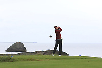 Frank Geary Jnr (Ballybunion) on the 4th tee during the Munster Final of the AIG Junior Cup at Tralee Golf Club, Tralee, Co Kerry. 13/08/2017<br /> Picture: Golffile | Thos Caffrey<br /> <br /> <br /> All photo usage must carry mandatory copyright credit     (&copy; Golffile | Thos Caffrey)