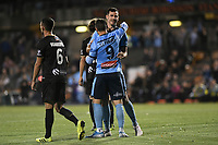 1st November 2019; Leichhardt Oval, Sydney, New South Wales, Australia; A League Football, Sydney Football Club versus Newcastle Jets; Adam le Fondre of Sydney and Ryan McGowan of Sydney celebrate after an own goal is scored to make it 3-1 - Editorial Use