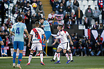 (L - R) Atletico de Madrid's Santiago Arias and Alvaro Morata  and Rayo Vallecano's Oscar Trejo  during La Liga match. February 16,2019. (ALTERPHOTOS/Alconada)