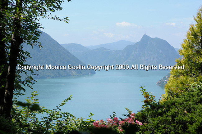 A view of Lake Lugano from Castello; Castello is a town in the mountains on Lake Lugano, Italy.
