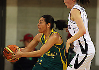 Opals guard Alicia Poto fakes a pass as she is pressed by Toni Edmondson during the International women's basketball match between NZ Tall Ferns and Australian Opals at Te Rauparaha Stadium, Porirua, Wellington, New Zealand on Monday 31 August 2009. Photo: Dave Lintott / lintottphoto.co.nz