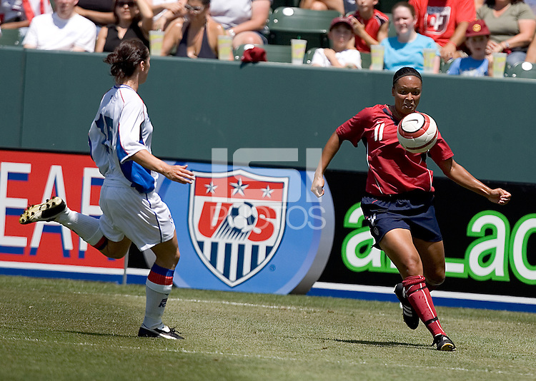 Angela Hucles traps the ball. The USA defeated Iceland, 3-0, at the Home Depot Center in Carson, CA on July 24, 2005.