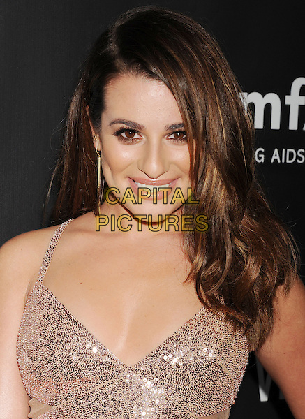 HOLLYWOOD, CA- OCTOBER 29: Actress Lea Michele attends amfAR LA Inspiration Gala honoring Tom Ford at Milk Studios on October 29, 2014 in Hollywood, California.<br /> CAP/ROT/TM<br /> &copy;TM/ROT/Capital Pictures