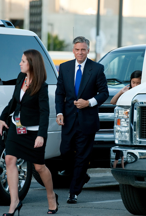 UNITED STATES - AUGUST 11:  Former Utah Gov. Jon Huntsman arrives to Stephens Auditorium at Iowa State University for the Republican presidential debate in Ames, Iowa.  The debate will feature eight republican candidates including Huntsman.   (Photo By Tom Williams/Roll Call)