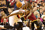 01/15/13--Portland Trail Blazers shooting guard Wesley Matthews (2) strips the ball away from Cleveland Cavaliers small forward Luol Deng (9) in the second  half at Moda Center.<br />