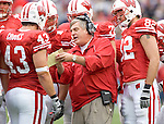 MADISON, WI - SEPTEMBER 9: Assistant coach Bob Palcic of the Wisconsin Badgers talks to the offense against the Western Illinois Leathernecks at Camp Randall Stadium on September 9, 2006 in Madison, Wisconsin. The Badgers beat the Leathernecks 34-10. (Photo by David Stluka)