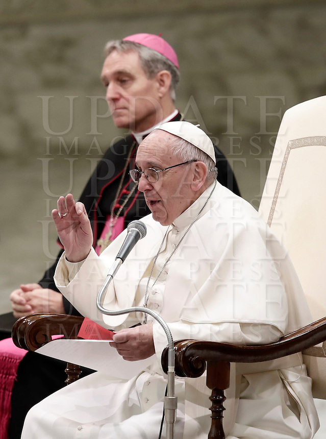 Papa Francesco tiene l'Udienza Generale del mercoledi' in aula Paolo VI in Vaticano, 11 gennaio 2017.<br /> Pope Francis leads his weekly general audience in Paul VI Hall at the Vatican, on January 11, 2017.<br /> UPDATE IMAGES PRESS/Isabella Bonotto<br /> <br /> STRICTLY ONLY FOR EDITORIAL USE