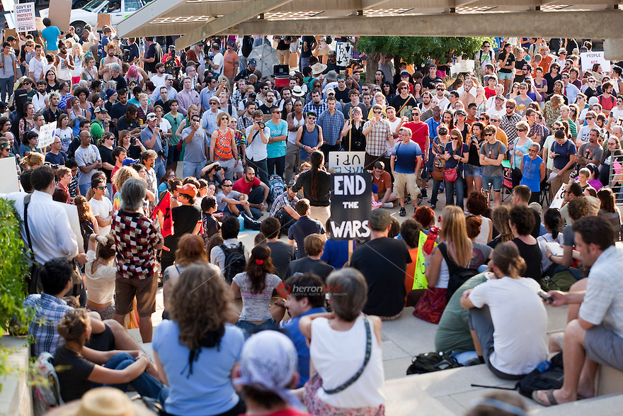 """Occupy Austin was inspired by the thousands of people who began demonstrating on Wall Street on Sept. 17. The original intent of the movement was to denounce the role that large corporations had in the financial crisis. The protesters have described themselves as the """"99 percent,"""" saying the financial system rewards the richest 1 percent at the expense of everyone else."""