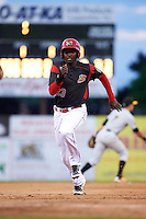 Batavia Muckdogs first baseman Javier Lopez (23) running the bases during a game against the West Virginia Black Bears on June 28, 2016 at Dwyer Stadium in Batavia, New York.  Batavia defeated West Virginia 3-1.  (Mike Janes/Four Seam Images)