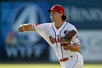 Starting pitcher Thaddeus Ward (51) of the Greenville Drive warms up before a game against the Kannapolis Intimidators on Tuesday, June 11, 2019, at Fluor Field at the West End in Greenville, South Carolina. Kannapolis won, 5-4. (Tom Priddy/Four Seam Images)