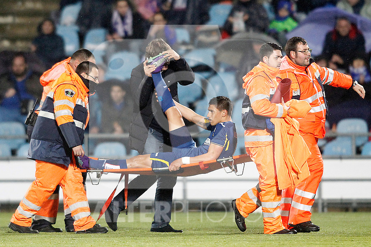 Getafe's Emiliano Velazquez injured during La Liga match. March 18,2016. (ALTERPHOTOS/Acero)