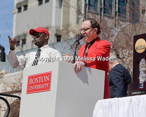 Bernie Corbett - Boston University celebrated the Terrier's men's hockey national championship win with a parade starting from a parking lot at Commonwealth Avenue and Deerfield running to BU's Marsh Plaza where the Terriers were honored on stage before mingling with the fans.