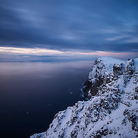 Winter view over sea from Ryten mountain peak, Moskenesøy, Lofoten Islands, Norway