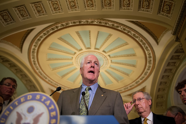 UNITED STATES - JUNE 11: Senate Minority Whip John Cornyn, R-Texas, center, and Senate Minority Leader Mitch McConnell, R-Ky., speak with the press after the senate luncheons. (Photo By Tom Williams/CQ Roll Call)