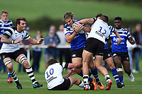 Max Clark of Bath United takes on the Bristol defence. Premiership Rugby Shield match, between Bristol Bears A and Bath United on August 31, 2018 at the Cribbs Causeway Ground in Bristol, England. Photo by: Patrick Khachfe / Onside Images