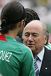 24 June 2007:  Mexico's Rafael Marquez (l) meets FIFA president Sepp Blatter (r). The United States Men's National Team defeated the national team of Mexico 2-1 in the CONCACAF Gold Cup Final at Soldier Field in Chicago, Illinois.