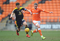 Blackpool's Antony Evans vies for possession with Oxford United's John Mousinho<br /> <br /> Photographer Kevin Barnes/CameraSport<br /> <br /> The EFL Sky Bet League One - Blackpool v Oxford United - Saturday 23rd February 2019 - Bloomfield Road - Blackpool<br /> <br /> World Copyright © 2019 CameraSport. All rights reserved. 43 Linden Ave. Countesthorpe. Leicester. England. LE8 5PG - Tel: +44 (0) 116 277 4147 - admin@camerasport.com - www.camerasport.com