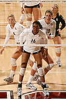 30 November 2007: Foluke Akinradewo, Alix Klineman, Bryn Kehoe, and Gabi Ailes during Stanford's 3-0 win over Santa Clara University in the first round of the NCAA Division 1 Women's Volleyball Championships in Maples Pavilion in Stanford, CA.