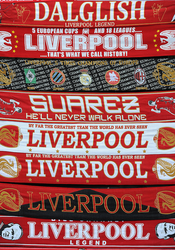 Scsrves for sale at a stall outside Anfield, home of Liverpool FC..Football - Barclays Premiership - Liverpool v Manchester United - Sunday 23rd September 2012 - Anfield - Liverpool..