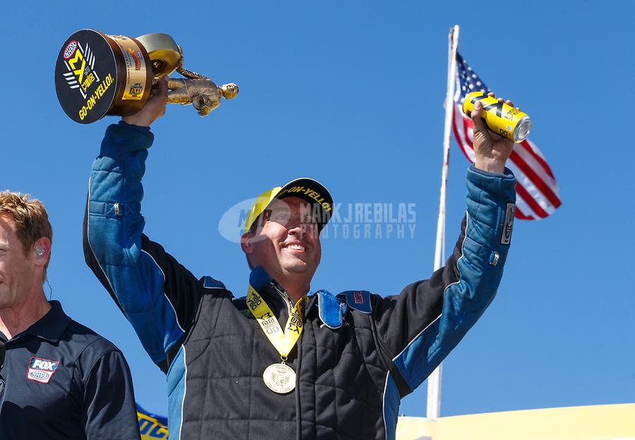 May 7, 2017; Commerce, GA, USA; NHRA pro stock driver Bo Butner celebrates after winning the Southern Nationals at Atlanta Dragway. Mandatory Credit: Mark J. Rebilas-USA TODAY Sports