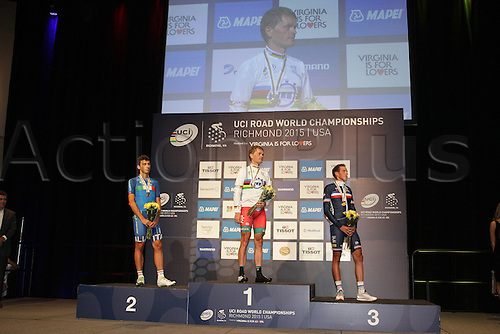 23.09.2015. Richmond, Virginia, USA. World Championship Cycling, Mens Elite time trials.  Podium with winners Basil Kiryienka of Bulgaria Adriano Malori of Italy<br />