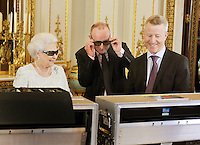 Queen Elizabeth II , Christmas message with 3D glasses - London