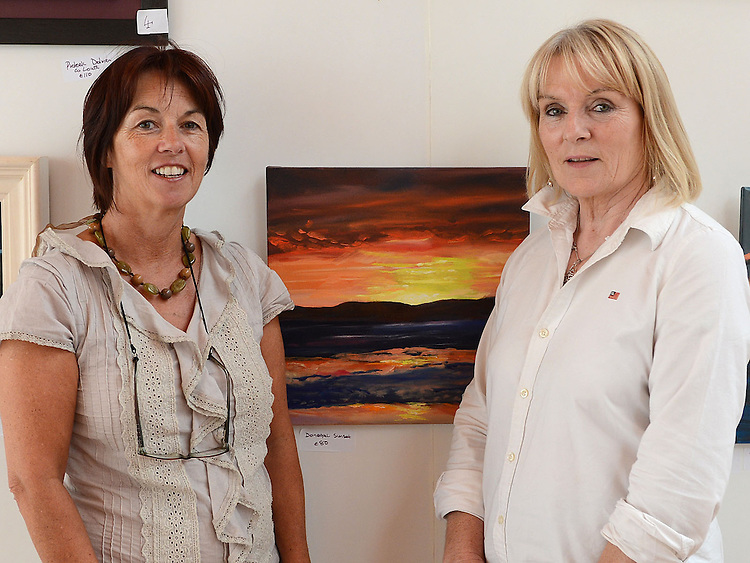 Artists Mary Durnin and Olivia McCoy pictured at their joint exhibition in Ardee castle as part of the Turfman festival. Photo:Colin Bell/pressphotos.ie
