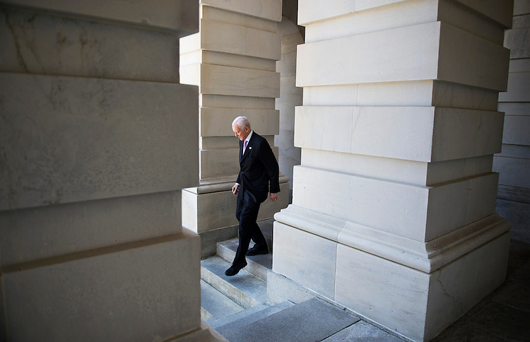 UNITED STATES - MAY 14: Sen. Orrin Hatch, R-Utah, leaves the senate side carriage entrance of the Capitol. Senate Republican's conducted their weekly luncheon at the NRSC. (Photo By Tom Williams/CQ Roll Call)